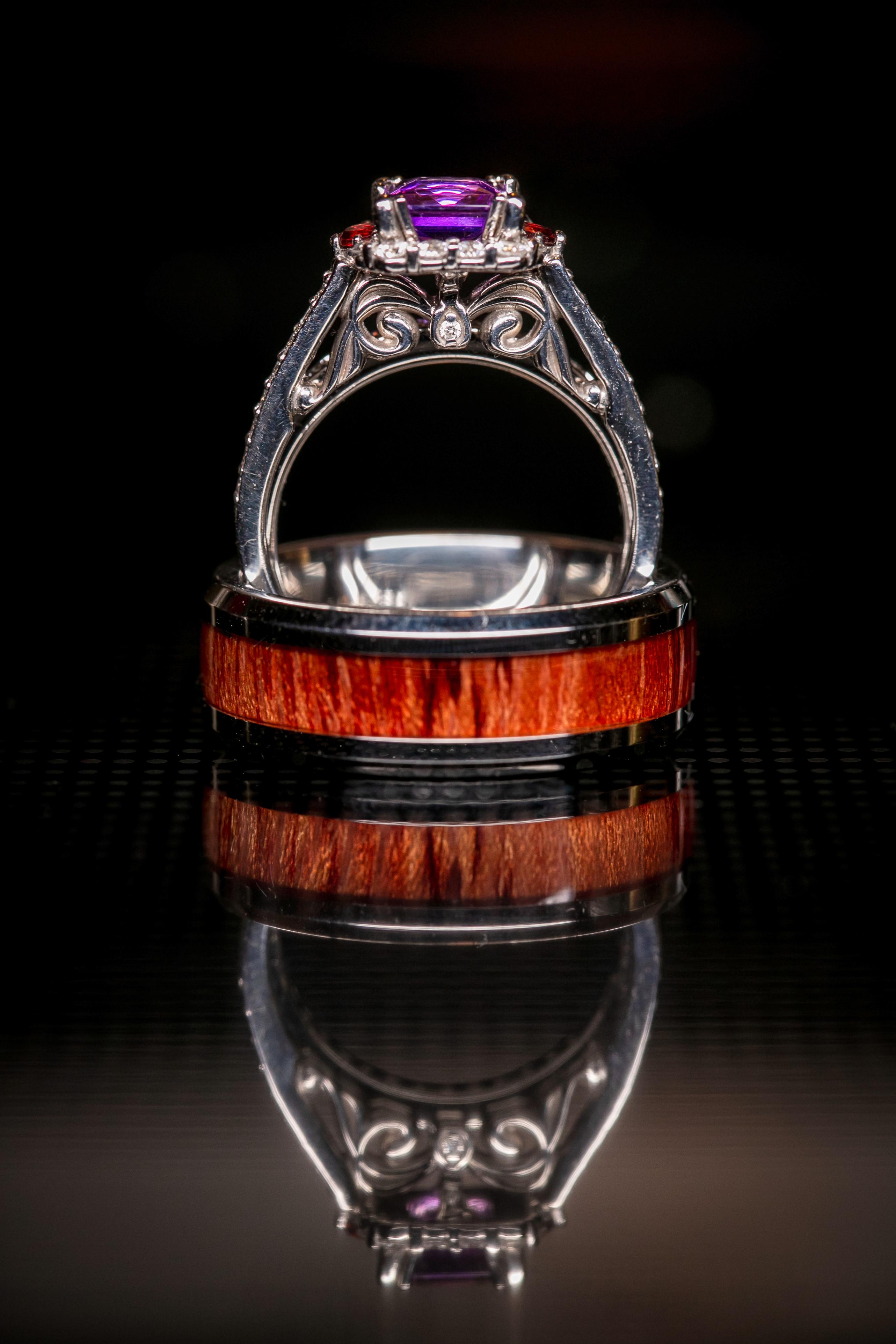 Bride's Engagement Ring & groom's Wedding Ring Detail