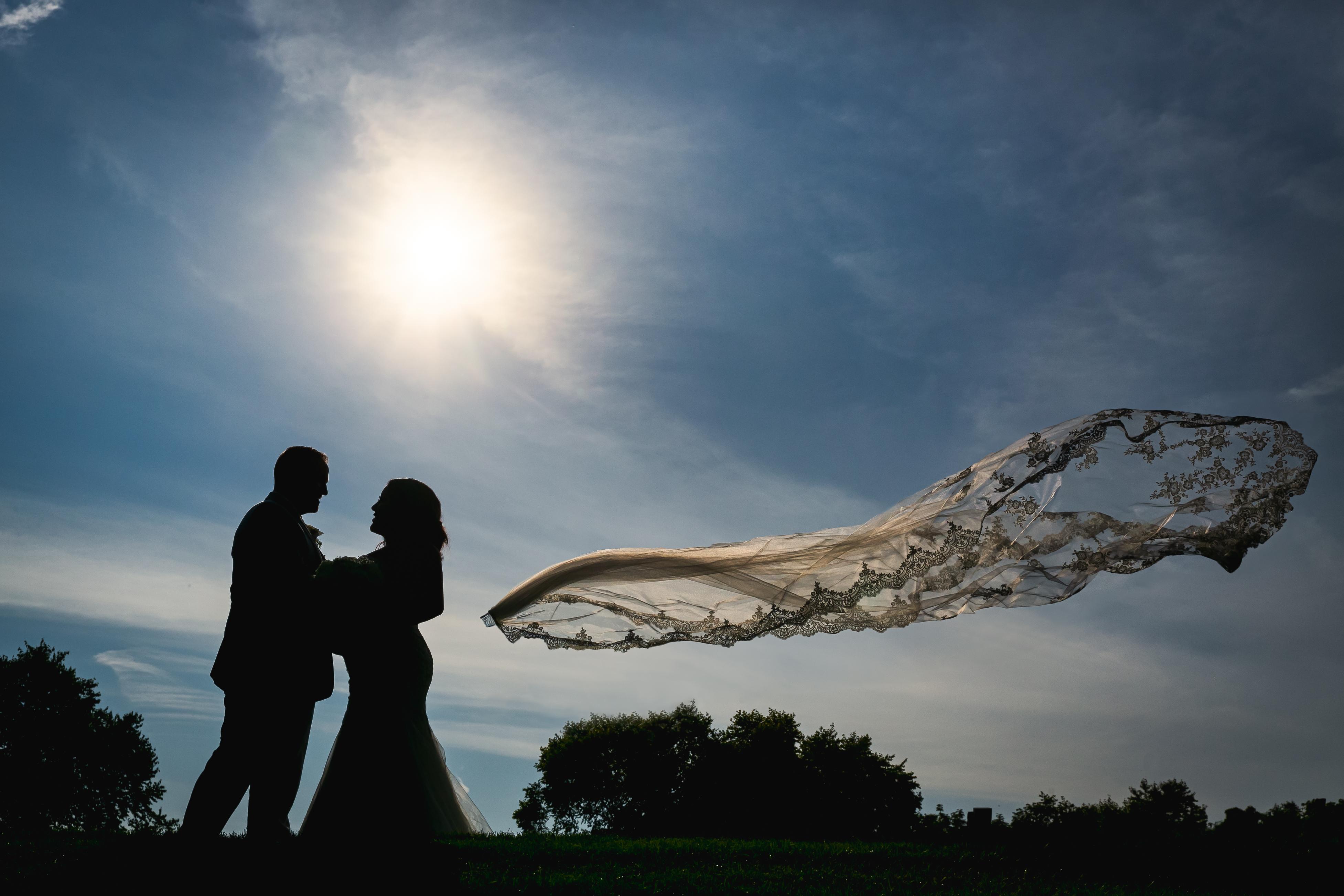 Veils Blows off the Bride's Head