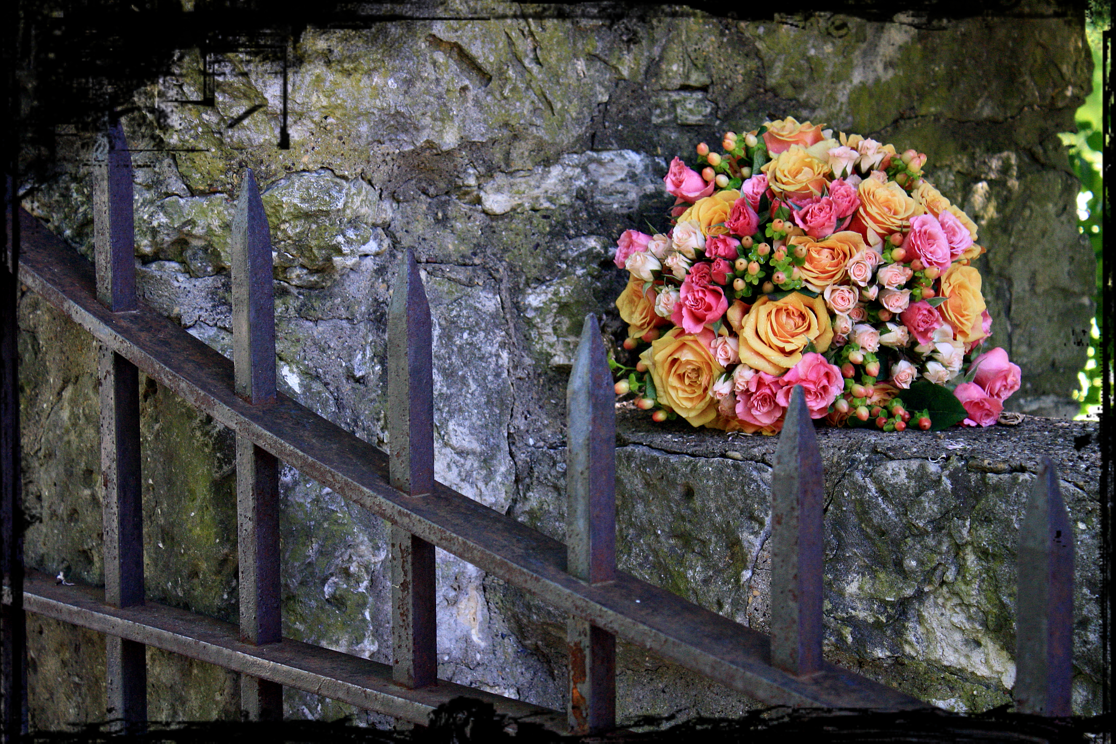 Bride's Bouquet on Stone Wall