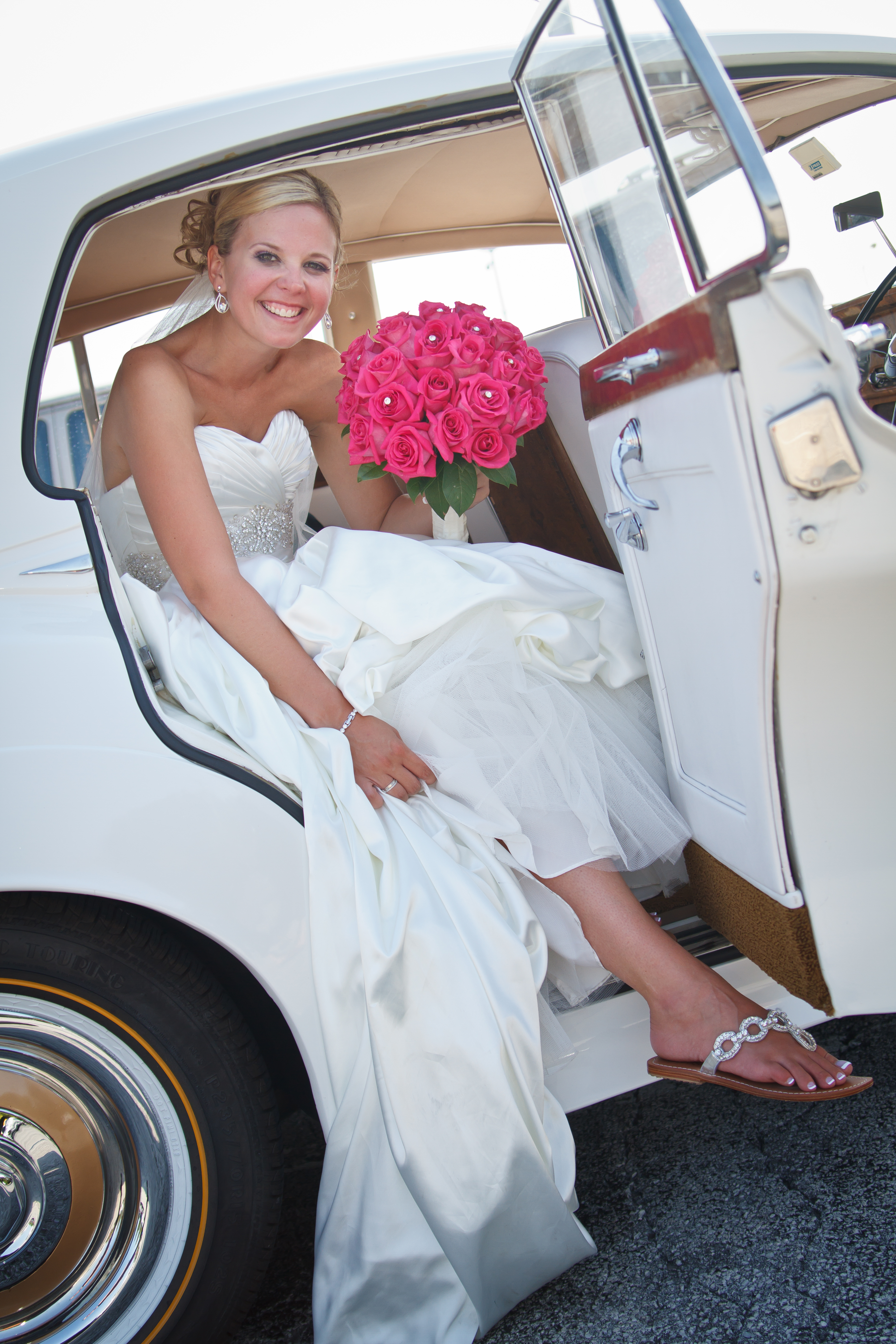 Bride Getting Out of 1962 Rolls Royce