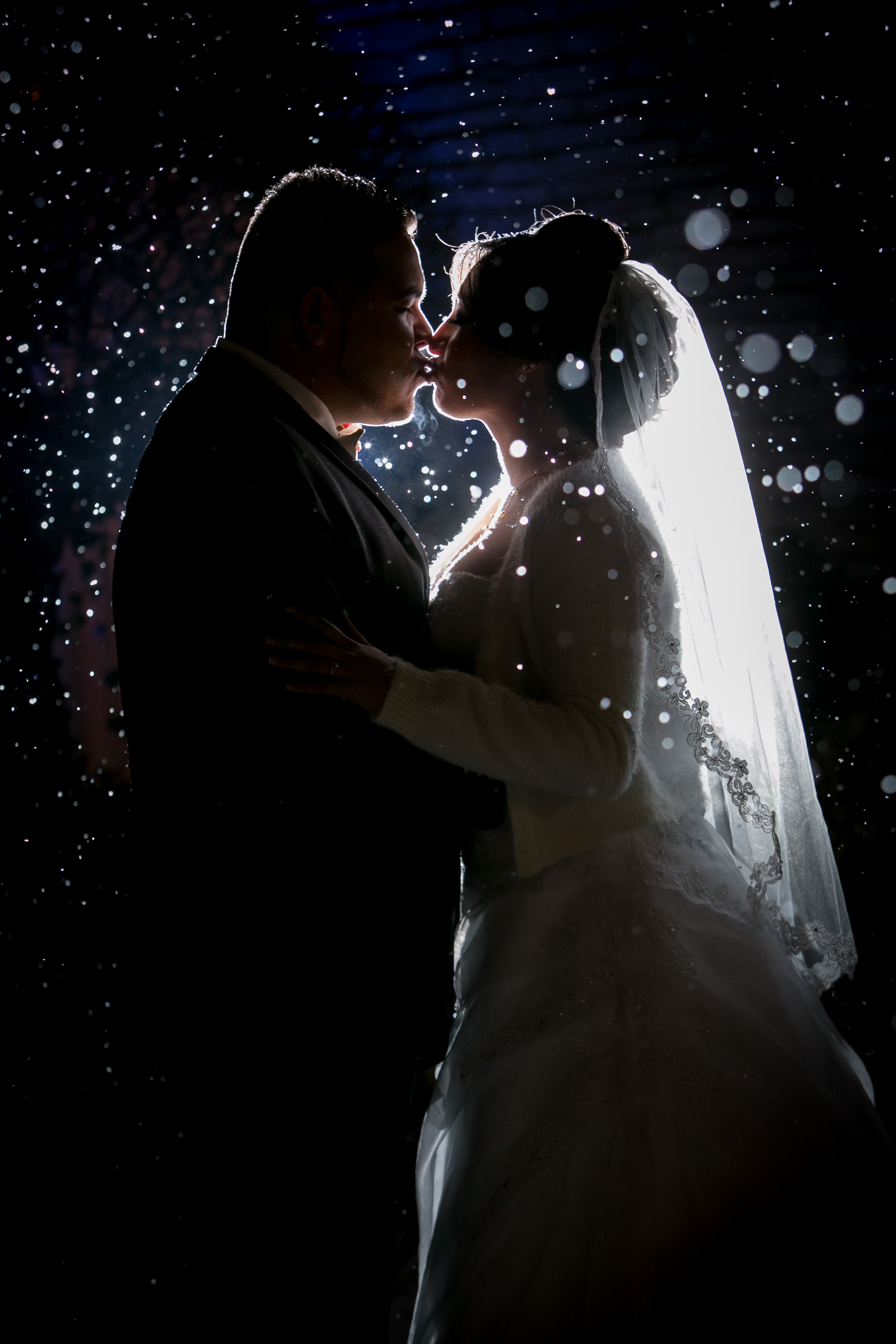 Wedding Couple Kissing in the Snow
