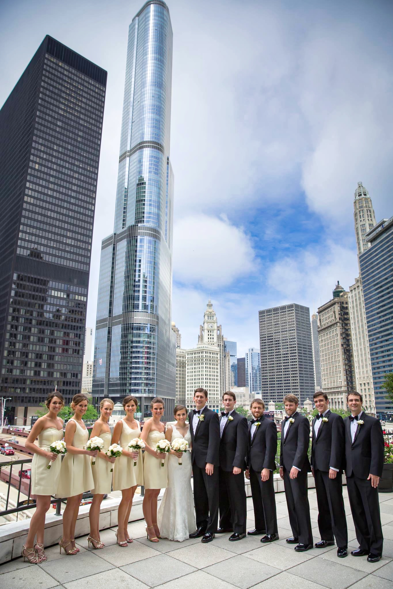 Wedding Party Portrait Downtown Chicago