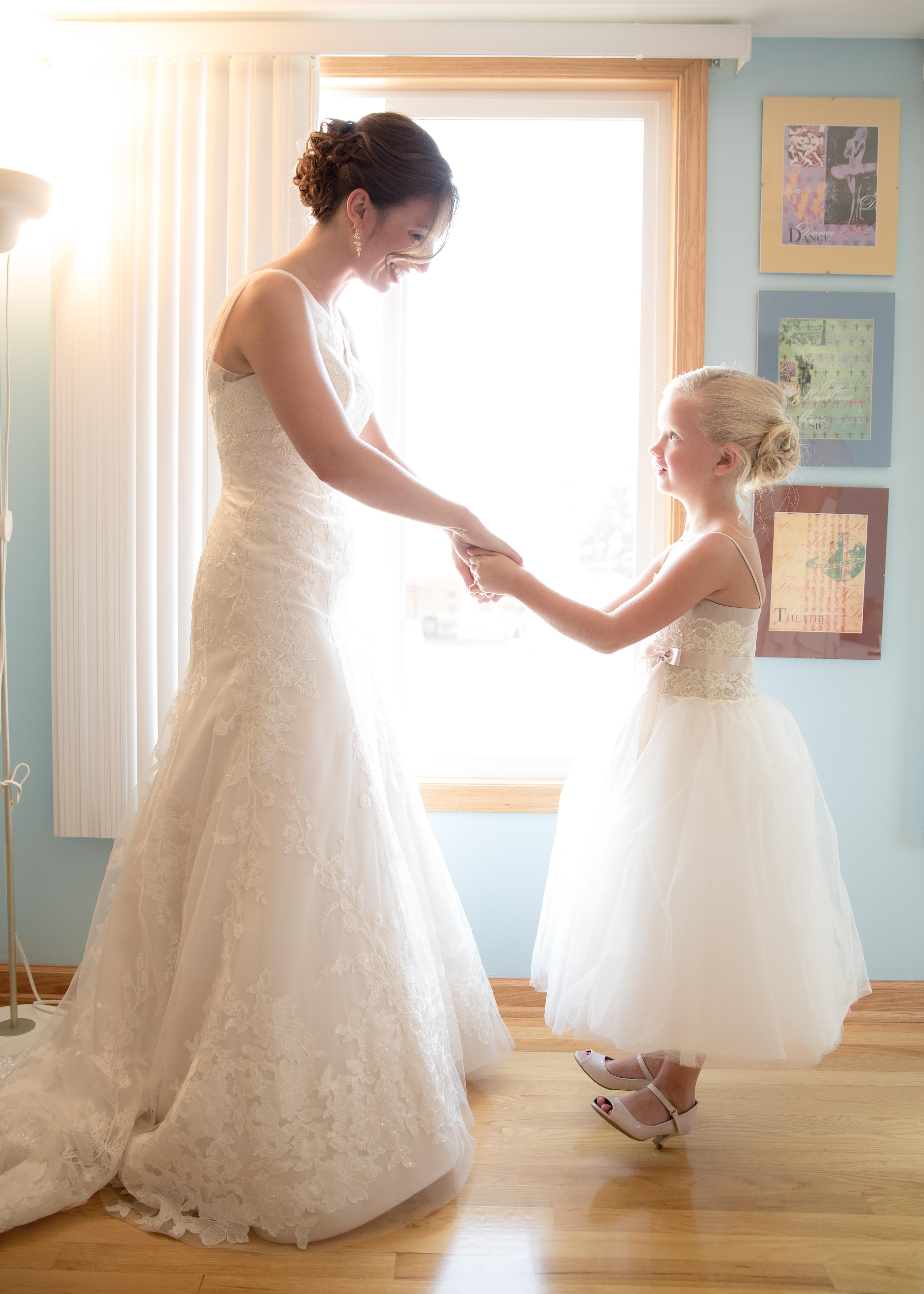 Bride and Flower Girl Talk