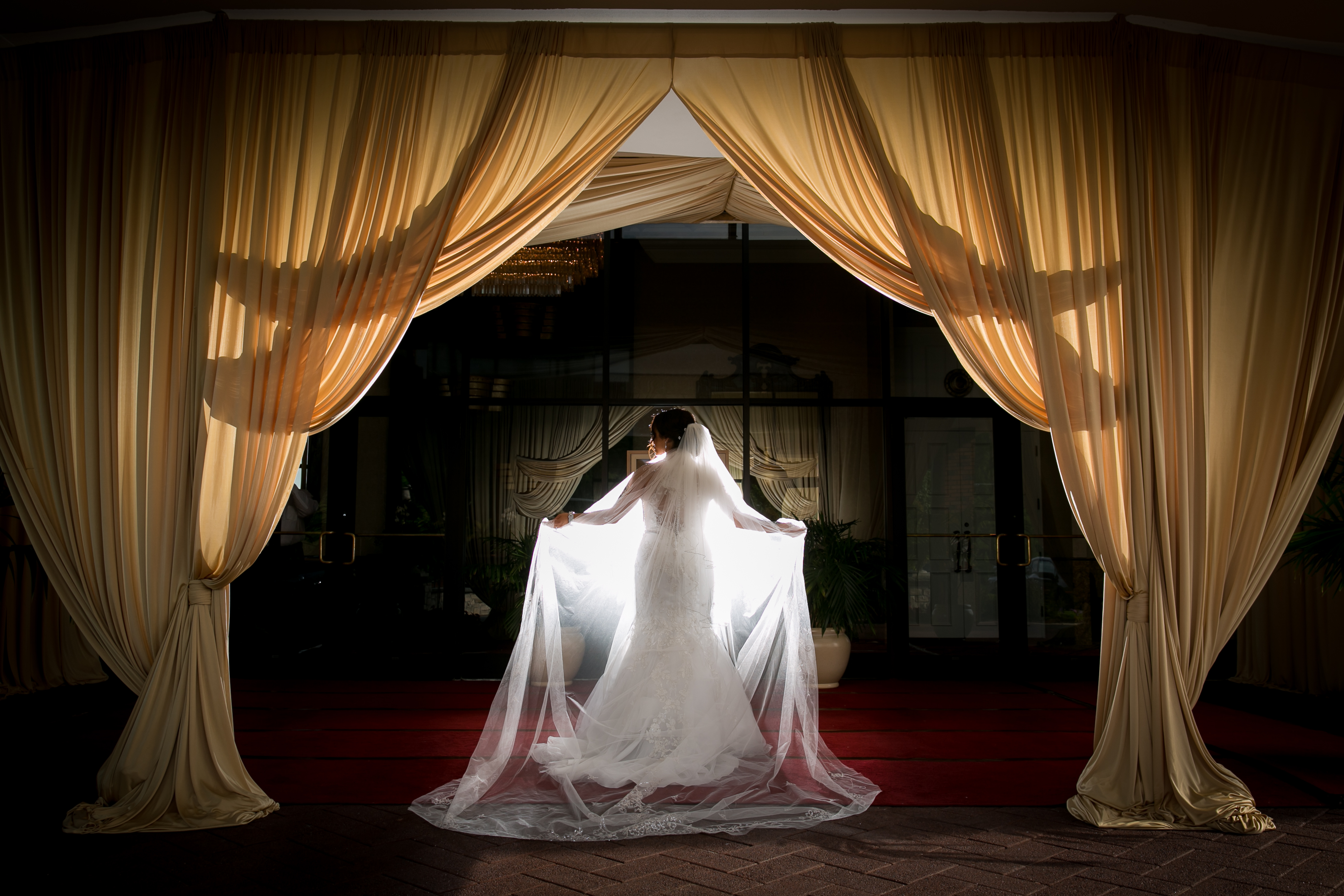 Bridal Portrait: Draped Entryway