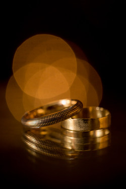 Gold Wedding Rings with Reflection