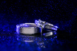 Wedding Ring Details with Mist and Blue Backlight