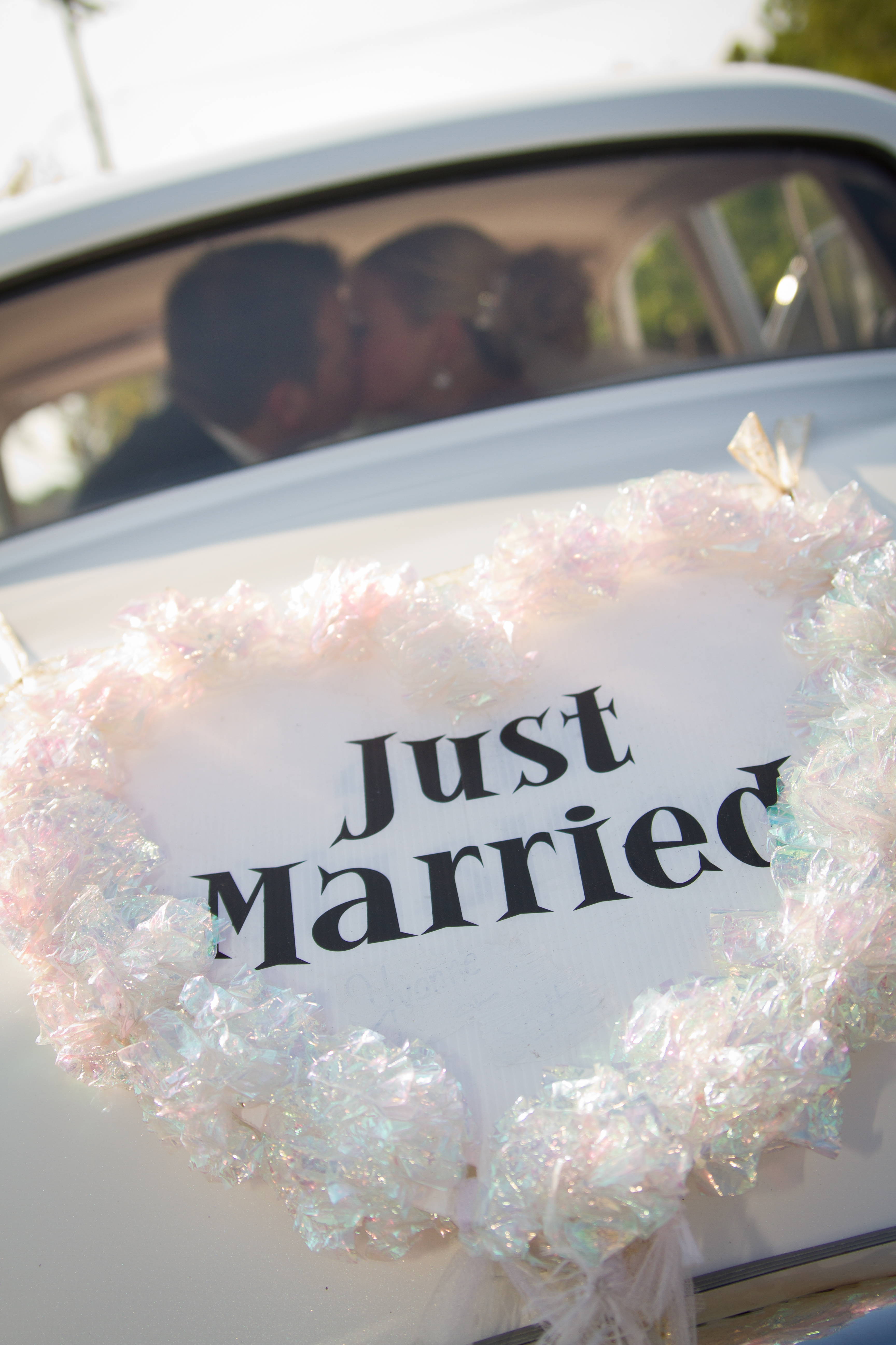 Just Married on back of Car