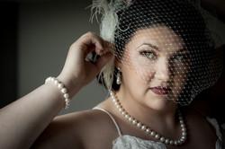 Bride Wearing Birdcage Veil