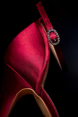 Brides Red Shoe with Rhinestone Clasp Detail