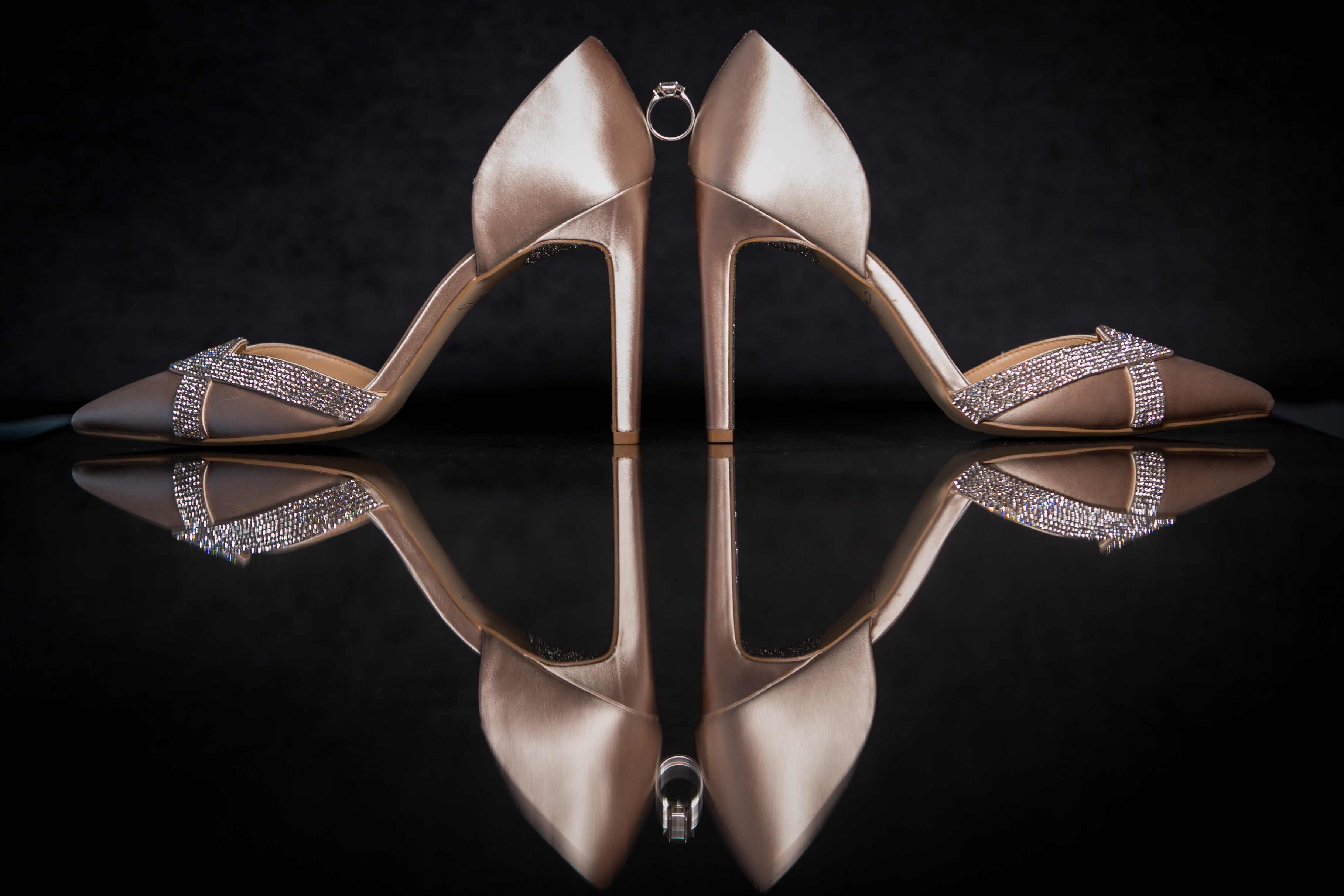 Brides Shoes with Engagement Ring
