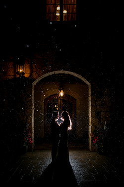 Bride and Groom in the Rain at Night