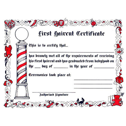 First Haircut Certificate- 12 Pack