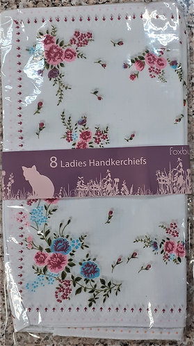 Pack of 8 Ladies White Hankies with Printed Flowers