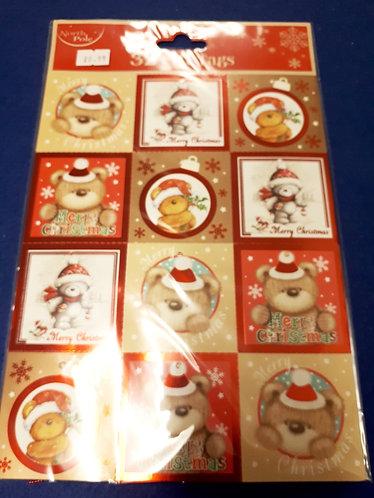 32 Foil Christmas Present Labels