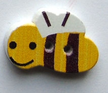 Wooden Bee Button
