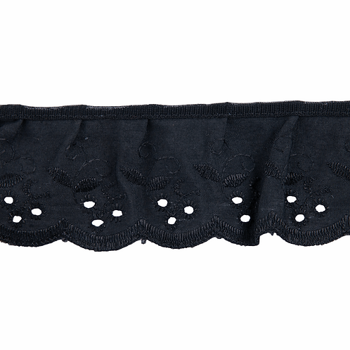 Gathered Broderie Anglaise in Black