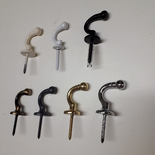 Screw In Tie-Back Hooks - Small