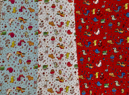 Printed 'Fun Dragons' Polycotton Fabric