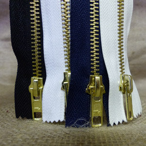 "6"" JEANS ZIPS - #5 BRASS TOOTHED-CLOSED ENDED"