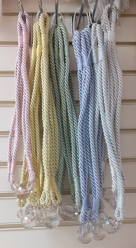 Pair of Pastel Rope Tiebacks with Faux Crystal Detail