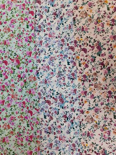 Printed Flower Polycotton Fabric