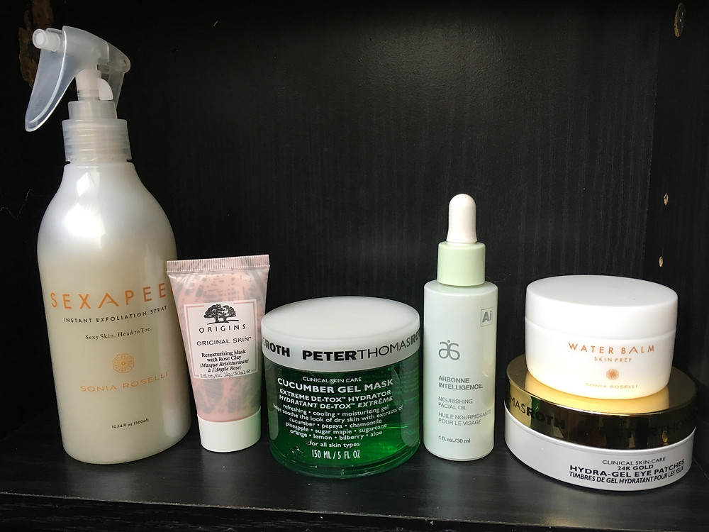 The lineup for my at home facial