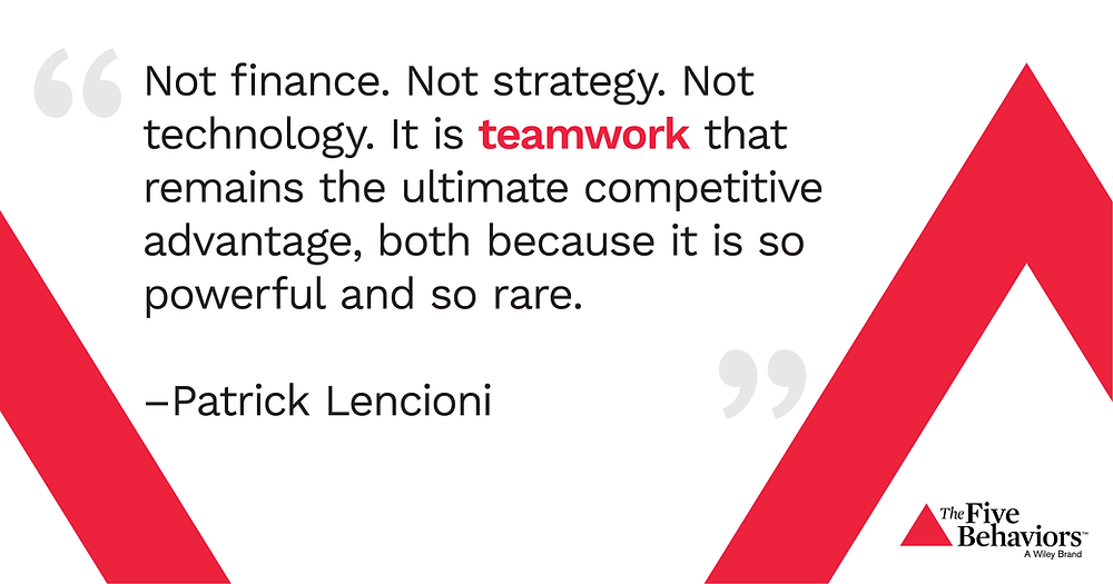 Not finance. Not strategy. Not technology. It is teamwork that remains the ultimate competitive advantage, both because it is so powerful and so rare - Patrick Lencioni