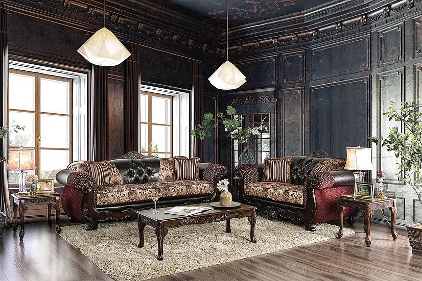 Furniture of America Quirino Traditional Burgundy Sofa & Loveseat