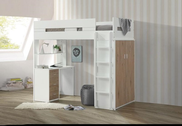 Nerice Oak Twin Loft Bed