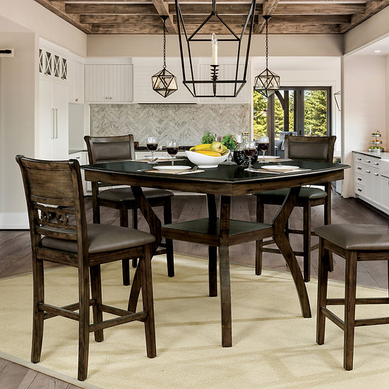 Furniture of America Flick 5 Piece Counter Height Table Set