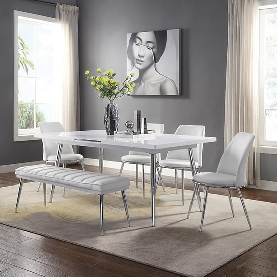 Acme Furniture Weizor Dining Set in White High Gloss & Chrome