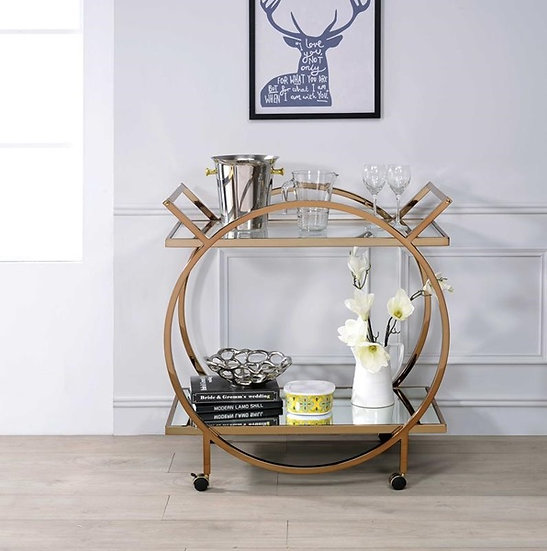 Acme Champagne Mirrored Serving Cart