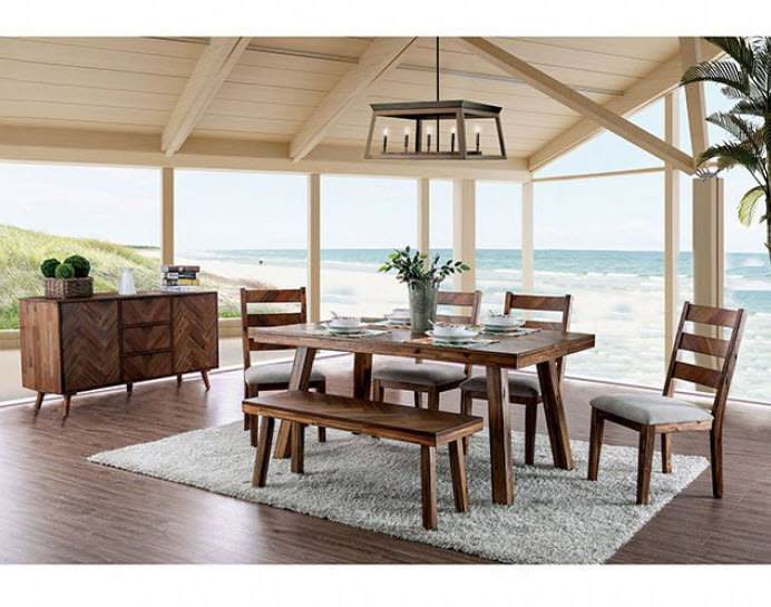 Furniture of America Signe Dining Table and 6 chairs (bench sold seperately)