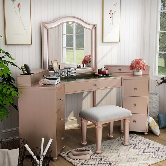 Furniture of America Uma Transitional Solid Wood Vanity Set