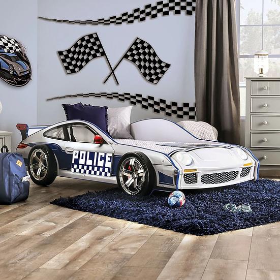 Furniture of America Logan Modern White Chrome Wheel Car Bed