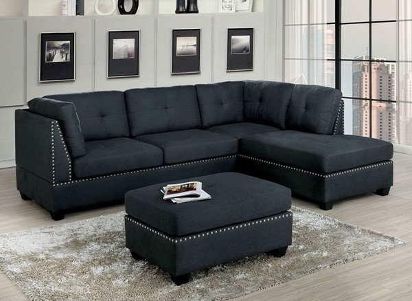 Grey studs Sectional & Ottoman