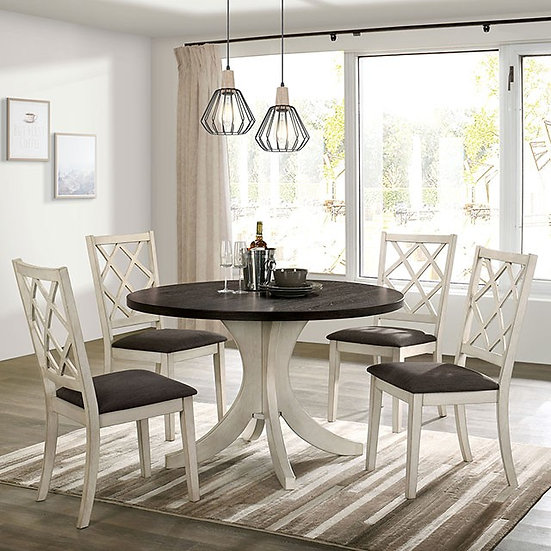 Furniture of America 5pc Transitional White Round Dining Table
