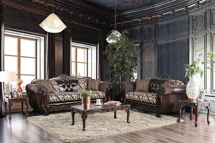 Furniture of America Quirino Traditional Light Brown Sofa & Loveseat
