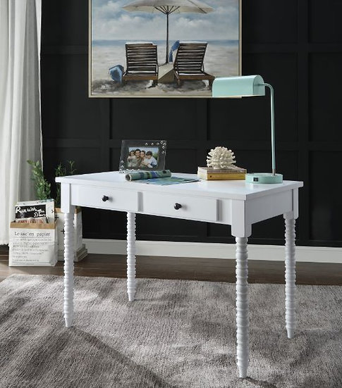 Farmhouse Writing Desk, White Finish