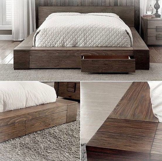 Storage solid wood platform bed