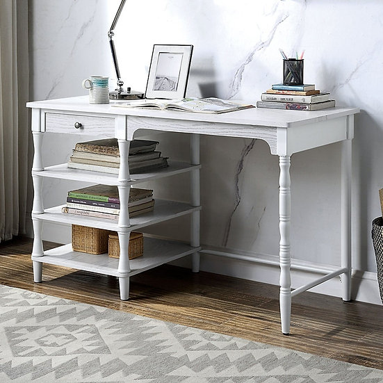Furniture of America Transitional White 48-inch 3-shelf Desk