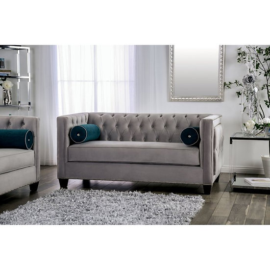 Furniture of America Silvan Glam Grey Tufted Loveseat