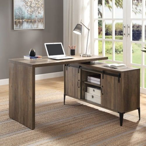 Writing Desk, Rustic Oak & Black Finish