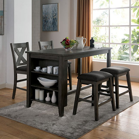 Furniture of America Rustic Counter Ht. Table set with stools