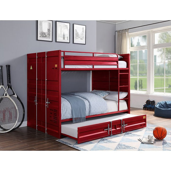 Red Cargo Twin Over Twin Bunk Bed