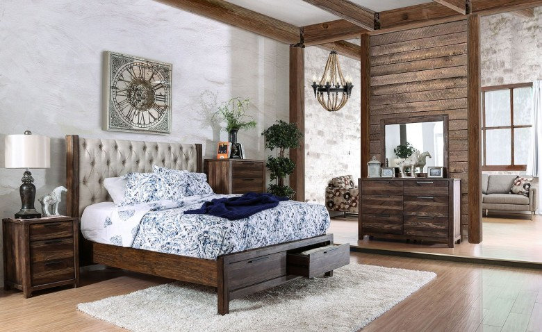 Furniture of America Hutchinson Queen Bed Upholstered Panel Storage Bed