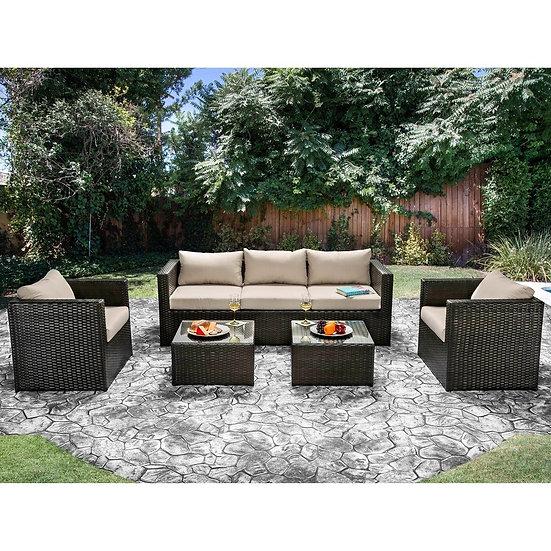 Furniture of America Olina Contemporary Brown 5-piece Outdoor Sofa Set