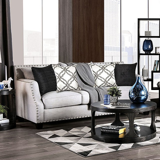 Furniture of America Phoibe Contemporary Chenille Loose Back Sofa