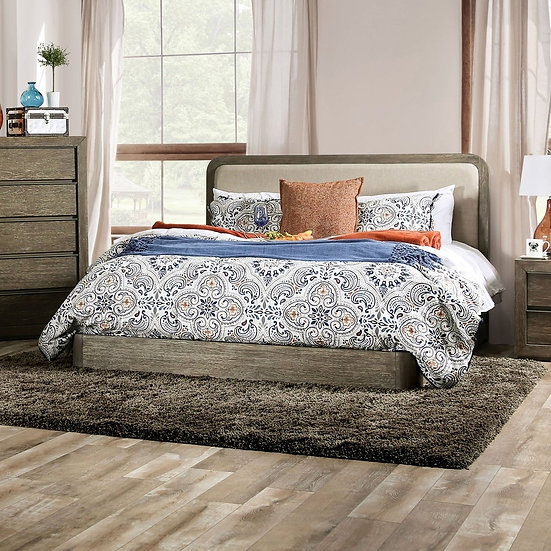 Furniture of America Watertown Cal K Transitional Walnut Solid Wood Platform Bed
