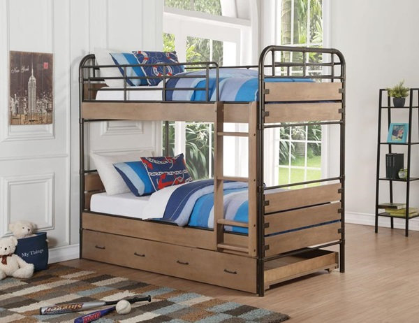 Acme Furniture Adams Twin Over Twin Bunk Bed - Antique Oak and Gunmetal